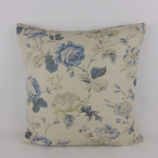 Blue Rose Natural Linen Floral Large Cushion