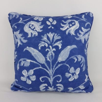 Blue White Floral Linen Fabric Cushions