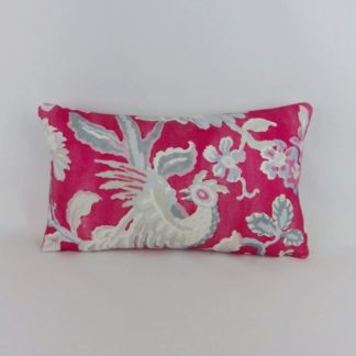 Pink Grey Bird Floral Linen Bolster Cushion