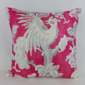Pink Grey Bird Floral Linen Cushion