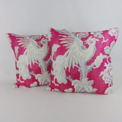 Pink Grey Bird Floral Cushion