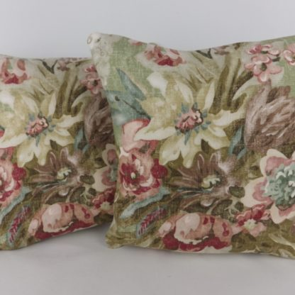 Linwood Wakehurst Spring Green Faded Floral Mini Cushions