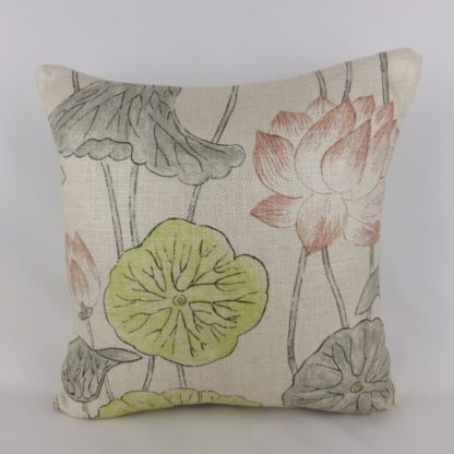 Zoffany Lotus Flower Linden Coral Cushions