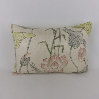 Zoffany Lotus Flower Linden Coral Lumbar Cushion