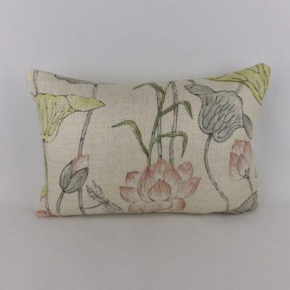 Zoffany Lotus Flower Linden Coral Lumbar Cushion