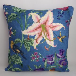 Bright Blue Floral Bird Cushion