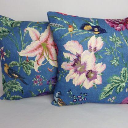 Bright Blue Floral Bird Cushion