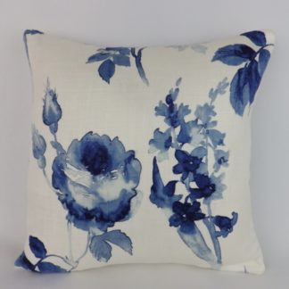 Blue Watercolour Rose Floral Cushion