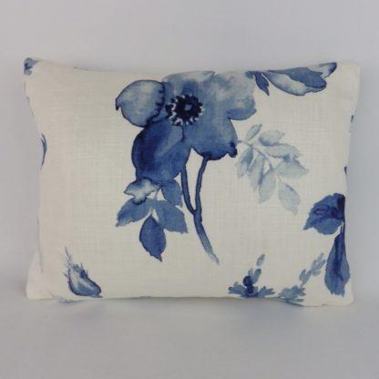 Rich Blue Watercolour Rose Floral Lumbar Cushions