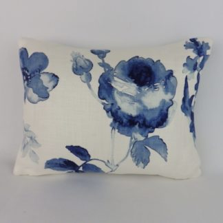 Blue Watercolour Floral Rose Cushions