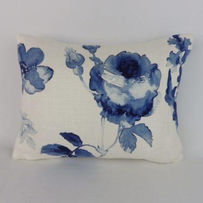 Blue Watercolour Floral Rose Cushions