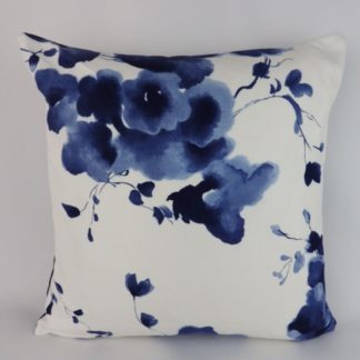 Rich Blue Watercolour Floral Large Cushions