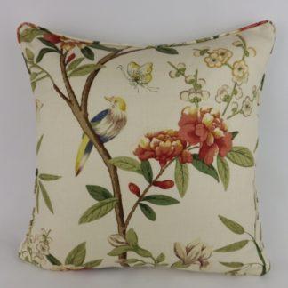 GP J Baker Peony Blossom Bird Linen Large Cushion