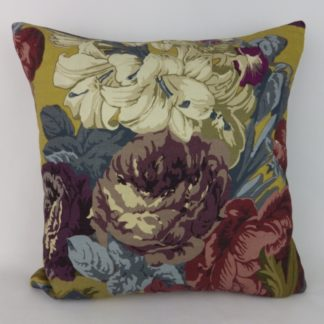 Dark Floral Mustard Purple Antique Balmoral Collection Cushion