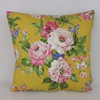 Mustard Yellow Pink Country Bright Floral Fabric Cushions