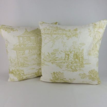 Chartreuse Green Chinese Toile Chivasso Whisperers Garden Cushion