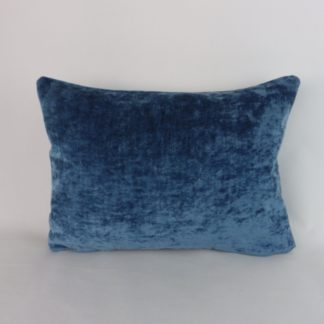 Blue Crushed Velvet Lumbar Pillow Cushion