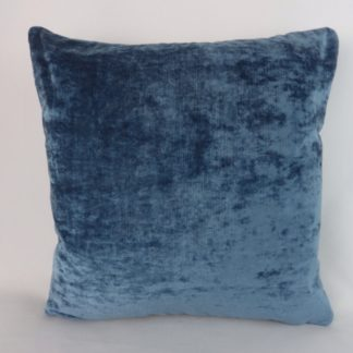 Blue Crushed Velvet Pillow Cushion