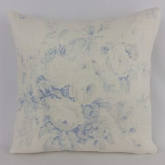 Vintage Blue Faded Rose Country Floral Linen Cushion
