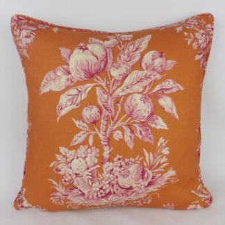 Orange Pink Floral Bee Toile Large Designer Cushions