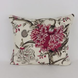 Scalamandre Pondicherry Raspberry Black Jacobean Designer Floral Cushion