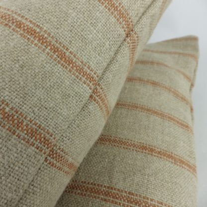 Orange Natural Rustic Linen Stripe Cushions