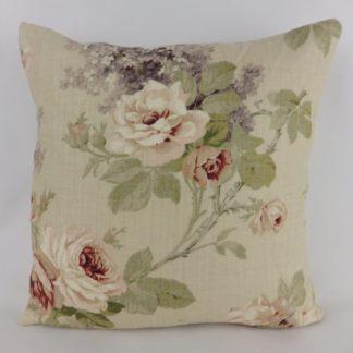 Sanderson Sorilla Biscuit Claret Rose Floral Cushions