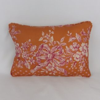 Orange Pink Floral Toile Designer Lumbar Cushions