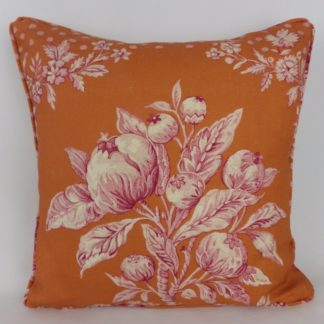 Floral Toile Orange Pink Designer Cushion