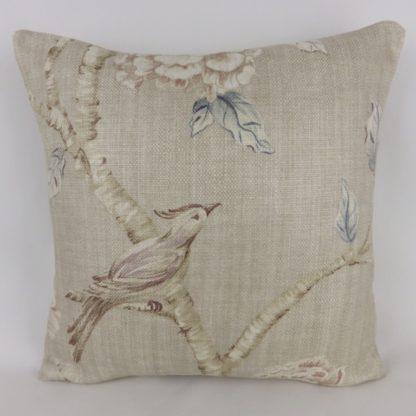 Zoffany Woodville Clay Bird Peony Floral Cushion