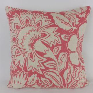 Sanderson Poppy Damask Coral Linen Cushion