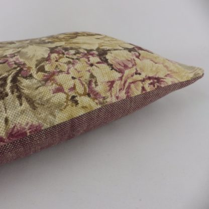 Sanderson Weybridge Vintage Floral Linen Mulberry Bolster Cushion