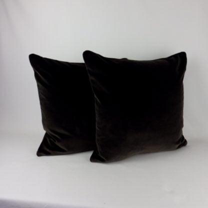 Dark Charcoal Brown Velvet Pillow Cushion