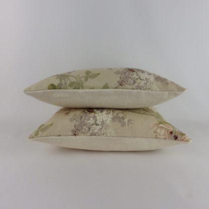 Sanderson Sorilla Biscuit Claret Rose Floral Lumbar Cushions