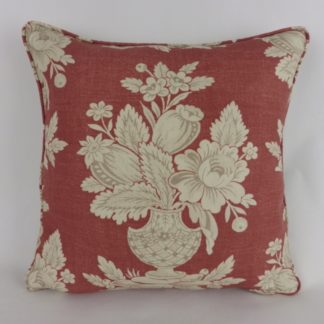 Faded Red Floral Vase Cushion