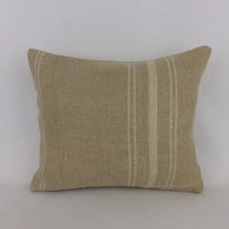 Rustic Natural Linen White Lumbar Cushion