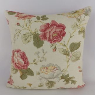 Raspberry Red Vintage Trailing Rose Floral Cushions