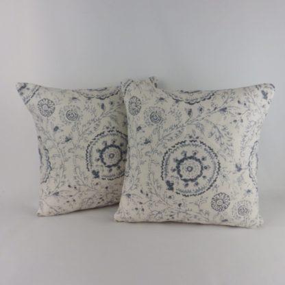 Modern Navy Blue Batik Floral Cushions