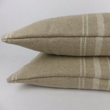 Rustic Natural Linen White Stripe Bolster Lumbar Cushion