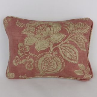 Faded Soft Red Floral Lumbar Cushion.