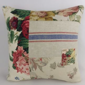 Vintage Floral Linen Patchwork Cushion