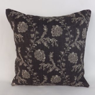 Black Grey Linen Trailing Vine Cushions