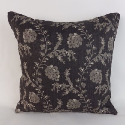 Black Grey Linen Trailing Vine Cushions