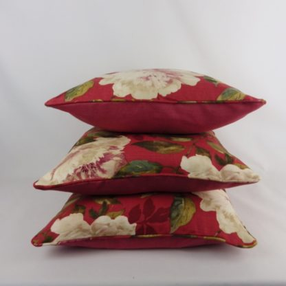 Red Rose Vintage Floral Linen Cushions