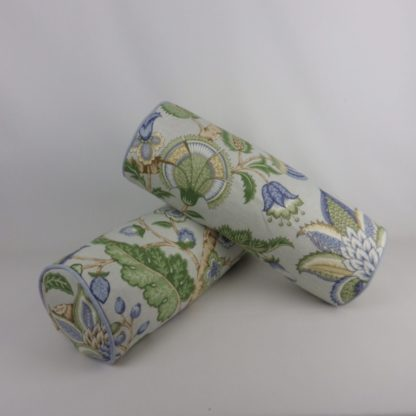 Blue Green Traditional Jacobean Floral Linen Bolster Cushions