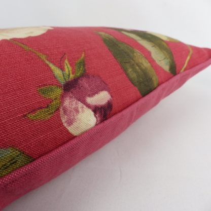 Edinburgh Weavers Peony Red Floral Linen Cushion