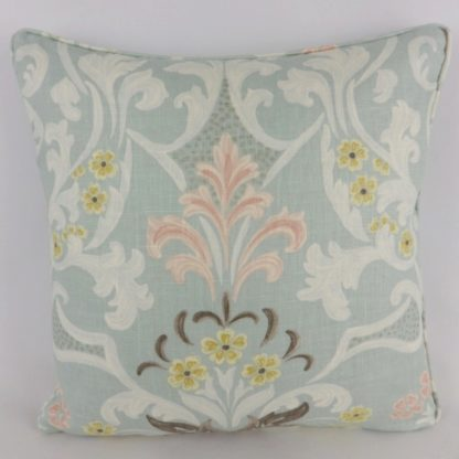 Duck Egg Blue Floral Damask Pattern Cushions