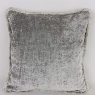 Grey Velvet Fringed Cushions