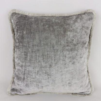 Grey Velvet Fringed Cushions