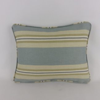 Blue Green Natural Stripe Lumbar Cushion